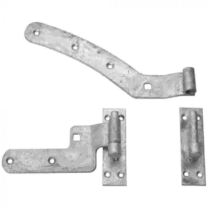 Curved rail hinge sets galvanised right hand