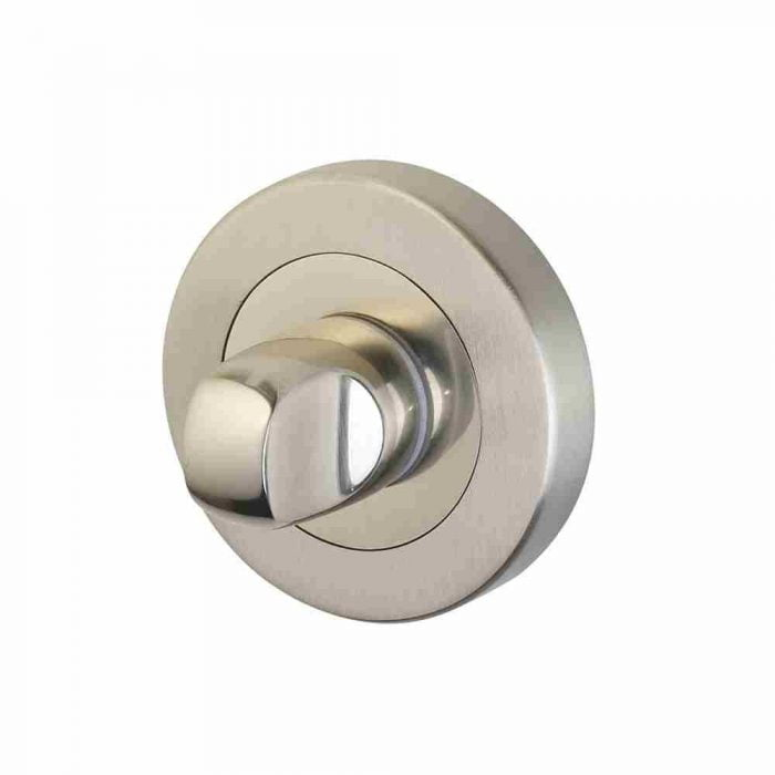 Horizon 50mm thumb turn and release on round rose polished nickel satin nickel