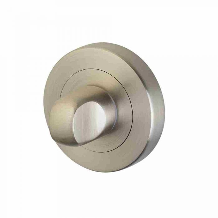 Horizon 50mm thumb turn and release on round rose satin nickel