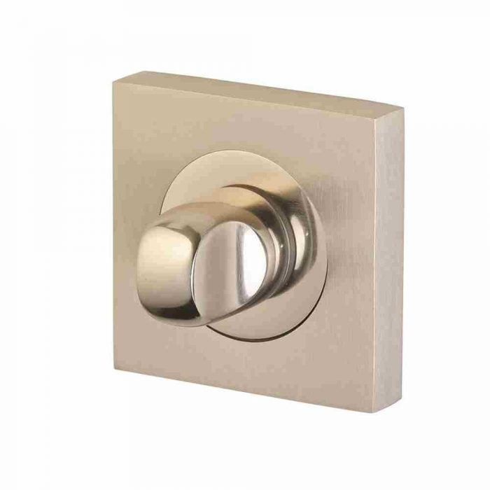 Perry Horizon thumbturn and release on 50mm square rose polished nickel satin nickel