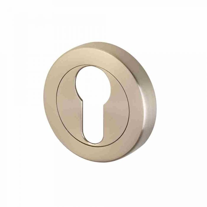 Perry horizon 50mm round escutcheon euro lock satin nickel