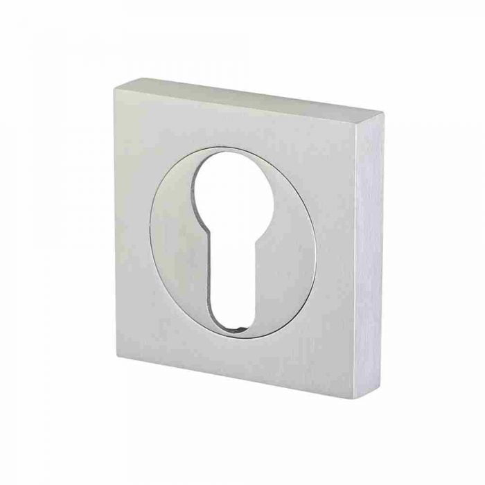 Perry horizon 50mm square escutcheon euro lock satin chrome
