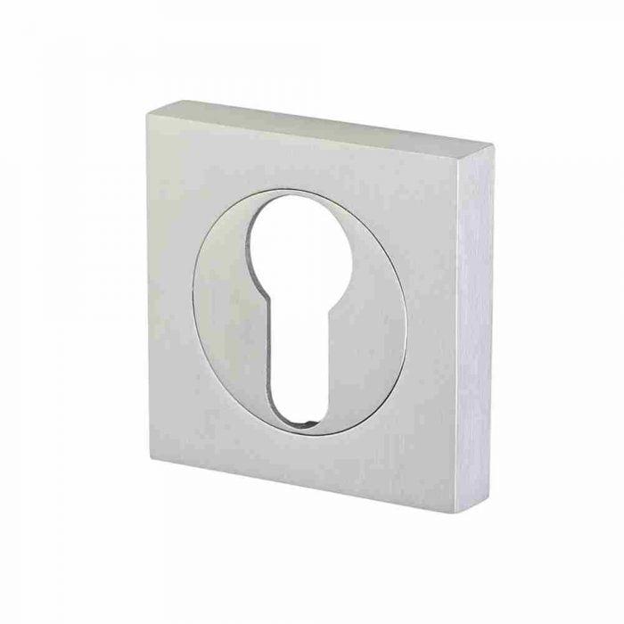 Perry horizon 50mm square escutcheon euro lock satin chrome