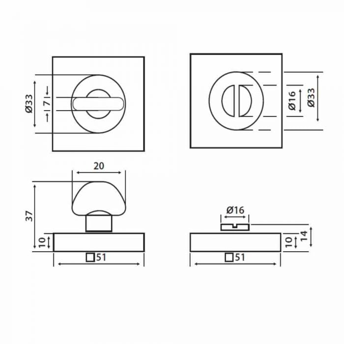 Perry horizon 50mm square thumb turn and release spec drawing