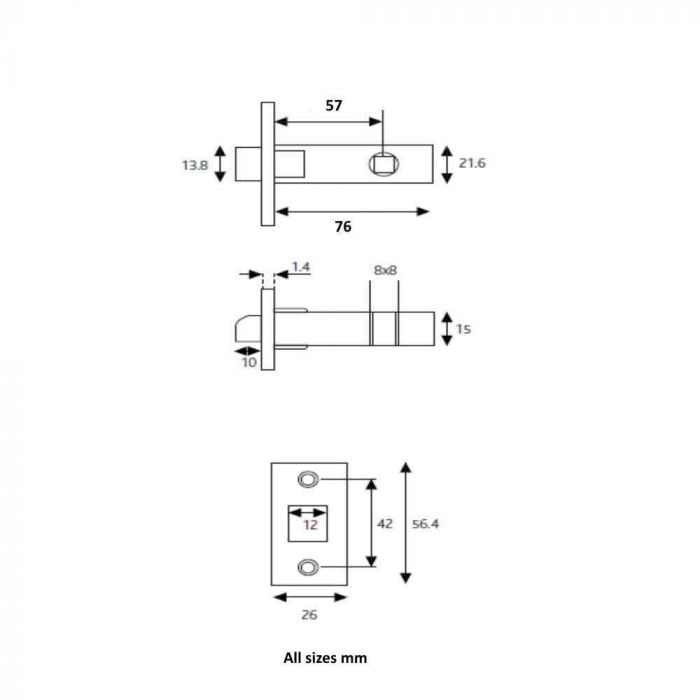 ERA 189-32 Mortice Latch 75mm Brass 57mm Backset Spec drawing