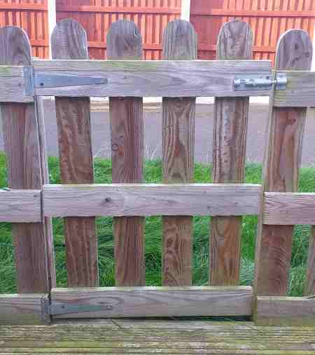 Tee hinges in use on a gate
