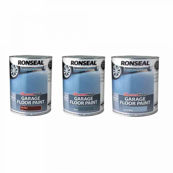 Ronseal Diamond Hard Garage Floor Paint Tile Red Slate Steel Blue