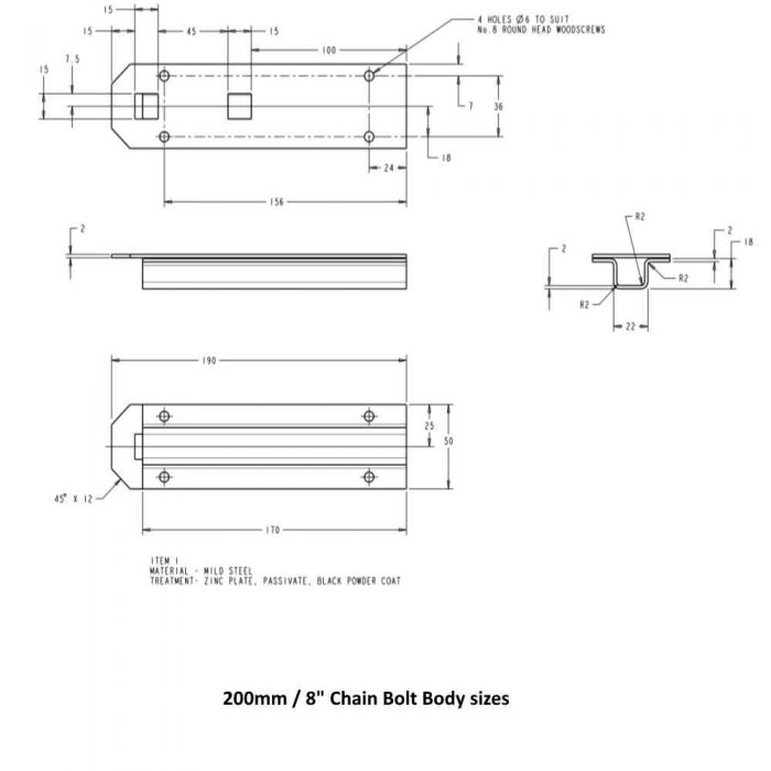 Chain Bolt Body Sizes