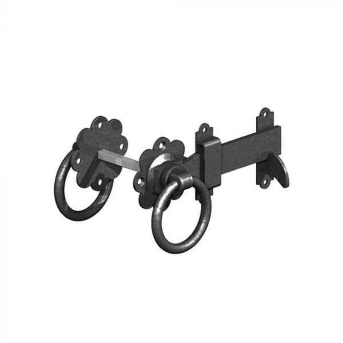 Ring Gate Latch Black Plain Handle