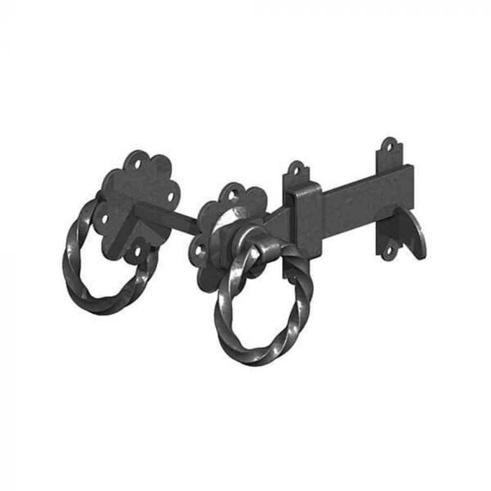 Twisted Handle Ring Gate Latches Black