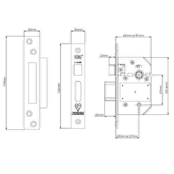 Union StrongBOLT 2200S BS 5 Lever Mortice Sashlock Spec Drawing
