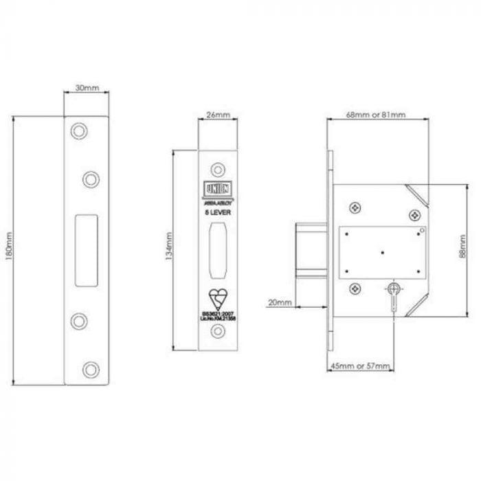 Union StrongBOLT 2100S BS 5 Lever Mortice Deadlock Spec Drawing